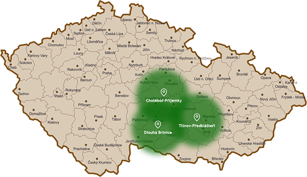 Mapa závozových regionů